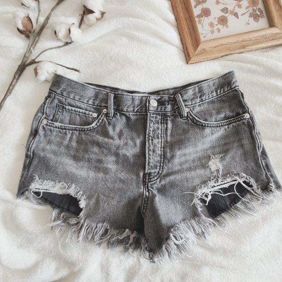 Free People High Wait Cut Off Distress Jean Shorts